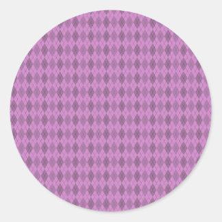 Hot pink,tartan,modern,pattern,girly,argyle,trendy round sticker