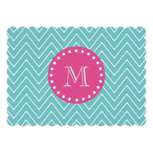 Hot Pink, Teal Blue Chevron | Your Monogram Custom Invitations