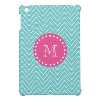 Hot Pink, Teal Blue Chevron | Your Monogram iPad Mini Cases