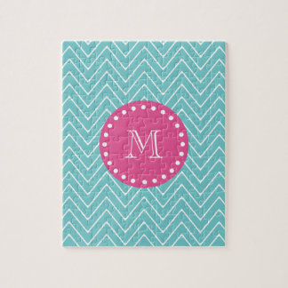 Hot Pink, Teal Blue Chevron | Your Monogram Jigsaw Puzzle