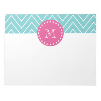 Hot Pink, Teal Blue Chevron | Your Monogram Notepad