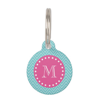 Hot Pink, Teal Blue Chevron | Your Monogram Pet Tag