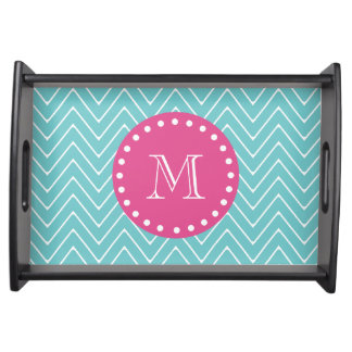 Hot Pink, Teal Blue Chevron | Your Monogram Serving Tray