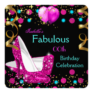 Hot Pink Teal Blue High Heels Birthday Party 13 Cm X 13 Cm Square Invitation Card