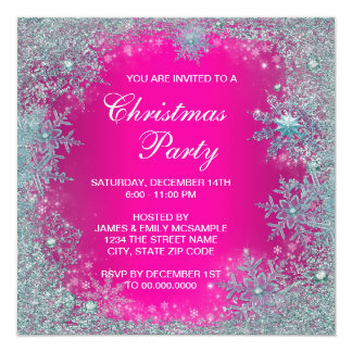Hot Pink Teal Blue Snowflake Christmas Party 13 Cm X 13 Cm Square Invitation Card