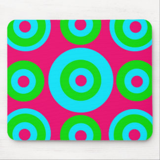 Hot Pink Teal Lime Green Concentric Circles Mouse Pad
