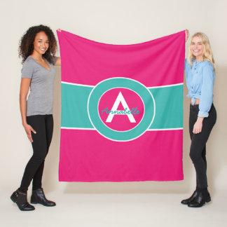 Hot Pink Teal Monogram Personalized Fleece Blanket