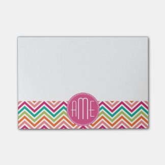 Hot Pink Teal Orange Chevrons Custom Monogram Post-it Notes