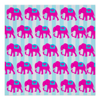 Hot Pink Teal Turquoise Blue Elephants on Striped Posters
