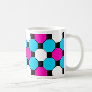 Hot Pink Teal White Black Squares Hexagons Basic White Mug