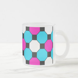 Hot Pink Teal White Black Squares Hexagons Frosted Glass Mug