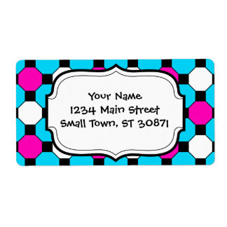 Hot Pink Teal White Black Squares Hexagons Shipping Label