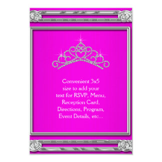 Hot Pink Tiara RSVP All Purpose 9 Cm X 13 Cm Invitation Card