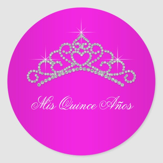 Hot Pink Tiara Sweet 15 Quinceanera Classic Round Sticker