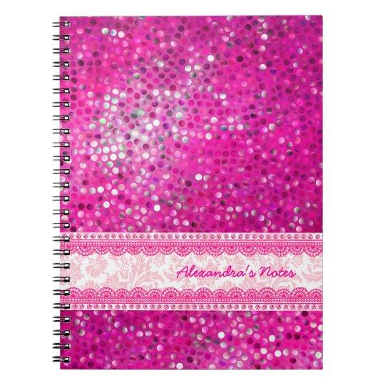 Hot Pink Tones Glitter Texture-Monogram 2 Spiral Notebook
