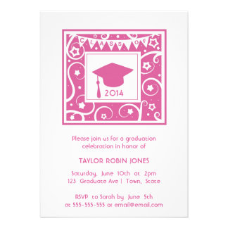 Hot Pink Trendy Girls Graduation Class invitation