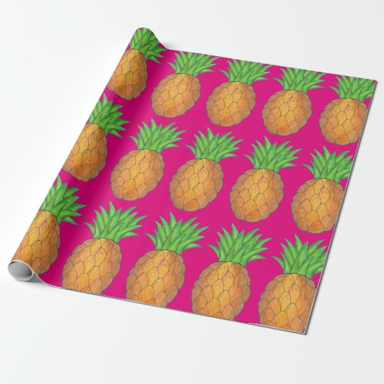 Hot Pink Tropical Island Pineapple Print Gift Wrap