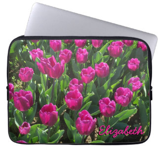 Hot Pink Tulips Beautiful Personalized Computer Sleeves
