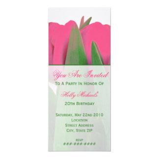 "Hot Pink Tulips Invitation 4"" X 9.25"" Invitation Card"