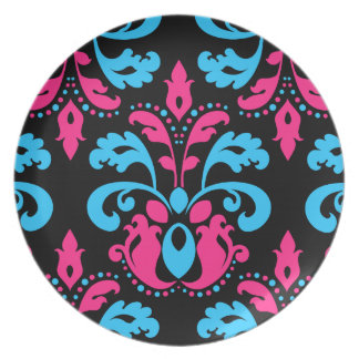 Hot pink turquoise and black damask dinner plate