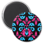 Hot pink, turquoise, and black damask fridge magnets