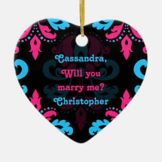 Hot pink turquoise and black damask proposal christmas ornament