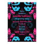 Hot pink, turquoise, black damask birthday party 13 cm x 18 cm invitation card