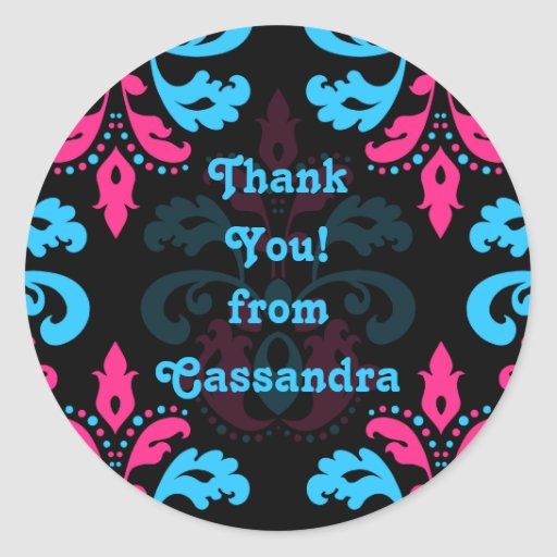 Hot pink turquoise black damask Thank you Round Stickers
