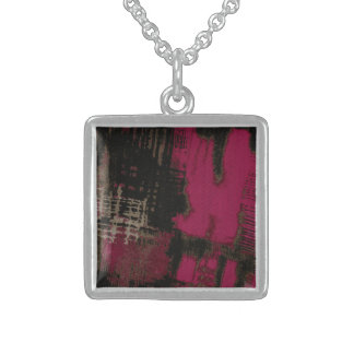 Hot Pink Urban Square Pendant Necklace