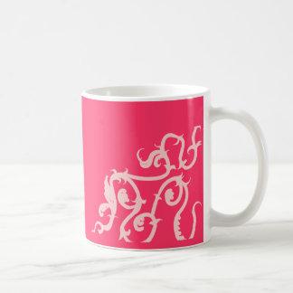 hot pink vine basic white mug