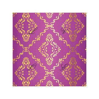 Hot pink,vintage,damask,gold,pattern,antique,ruby, canvas prints