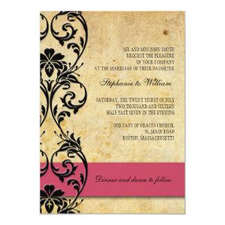 Hot Pink Vintage Floral Swirl Wedding Invitation