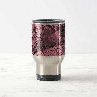 Hot Pink Vintage Map Mugs
