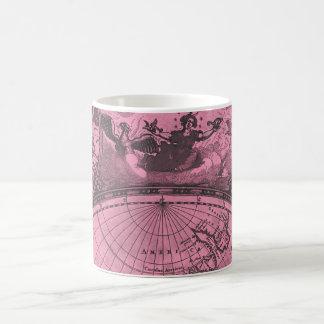 Hot Pink Vintage Map Coffee Mug