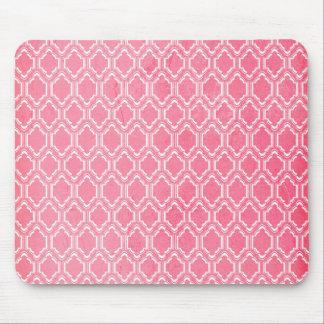 Hot Pink, Vintage Quatrefoil Mouse Pad