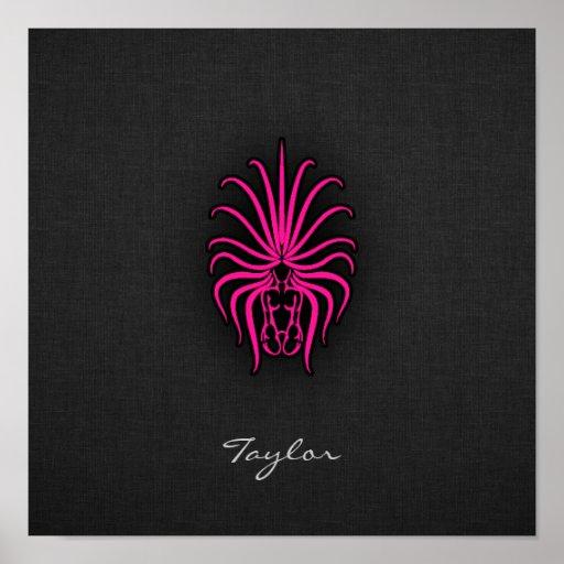 Hot Pink Virgo Zodiac Sign Poster