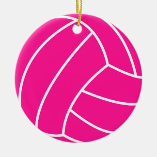 Hot Pink Volleyball Christmas Ornament