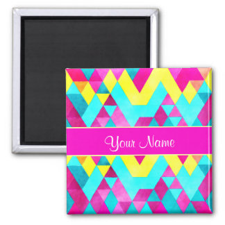 Hot Pink Watercolor Geometric Triangles Square Magnet