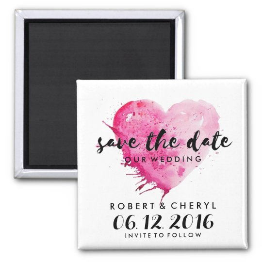 Hot Pink Watercolor Heart Save the Date Magnets