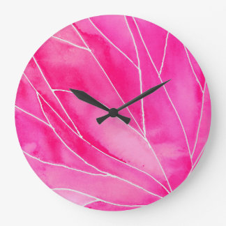 Hot Pink Watercolour Break Large Clock