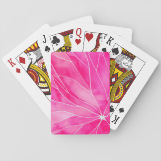Hot Pink Watercolour Break Playing Cards