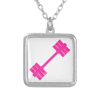 Hot Pink Weight Square Pendant Necklace