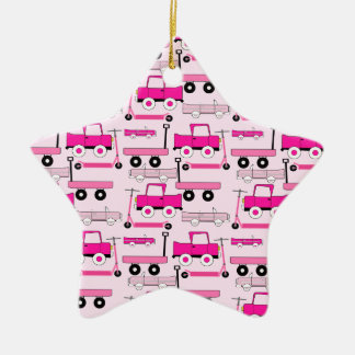 Hot Pink Wheels Vintage Cars Trucks Scooters Wagon Ceramic Star Decoration
