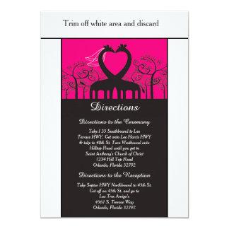 Hot Pink Whimsical Giraffe 3.5x6 Directions Card 13 Cm X 18 Cm Invitation Card