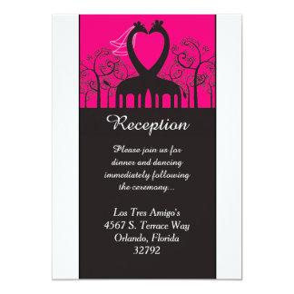 Hot Pink Whimsical Giraffe 3.5x7 Reception Card 13 Cm X 18 Cm Invitation Card