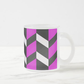 Hot Pink, White and black chevron Frosted Glass Mug