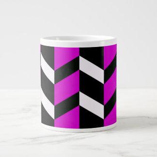 Hot Pink, White and black chevron Jumbo Mug