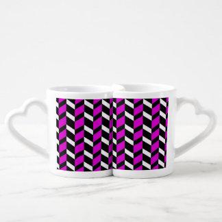 Hot Pink, White and black chevron Lovers Mug