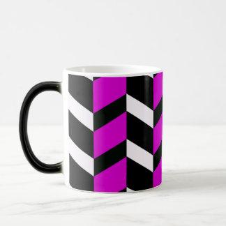 Hot Pink, White and black chevron Morphing Mug