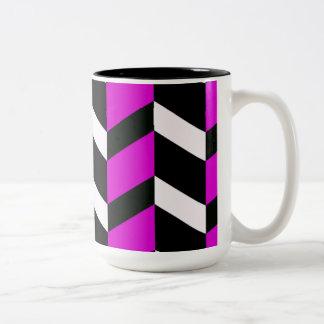 Hot Pink, White and black chevron Two-Tone Mug